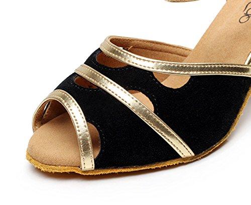 EU41 Our42 Jazz 5cm Black heeled7 UK7 Dance JSHOE Shoes Sandals Samba Tango Heels Latin Women's Shoes Modern Tea High Salsa RH8f6UWna8