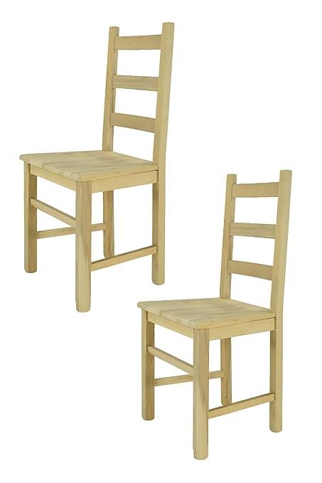 Tommychairs - Set 2 sedie Classiche Rustica per Cucina, Bar e Sala da  Pranzo, Struttura in Legno di faggio Levigato, Non trattato, 100% Naturale  e ...