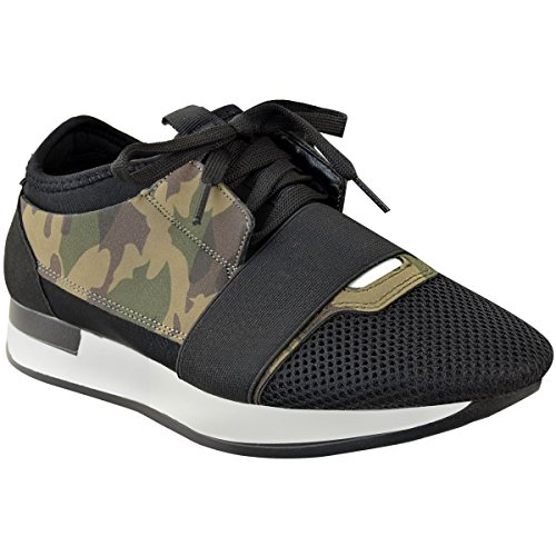 Heelberry Womens Ladies Girls Lace up Trainer Runner Bali Stretch Band Walking Gym Shoes Camo Khaki Green Faux Suede b7fWAFT6r