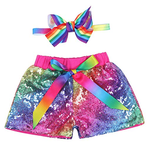 Baby Girls Shorts Kids Sparkle Toddler Sequin Shorts Glitter on Both Sides Birthday Outfits Headband Unicorn Rainbow Hot Pink 12 Months