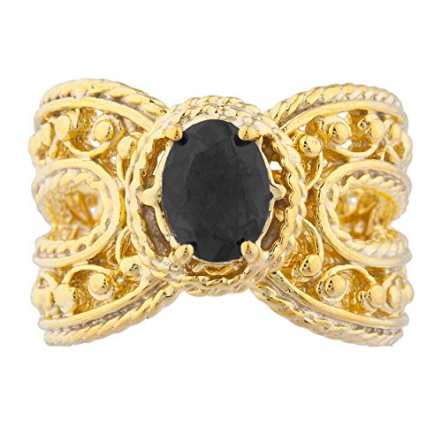 1.5 Ct Genuine Black Onyx Oval Cocktail Design Ring 14Kt Yellow Gold Plated Over .925 Sterling Silver ()