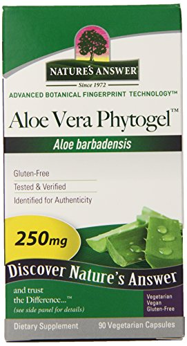 Nature's Answer Aloe Vera Phytogel, Vegetarian Capsules, 90 Count (Pack of 12)