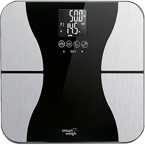 Smart Weigh Digitale Körperfettwaage, Digitale Personenwaage mit Körperfettanzeige mit Hartglasplattform, Erkennung von acht Benutzern und 200 kg Gewichtskapazität, misst Gewicht, Körperfett, Wasser, Muskel- und Knochenmasse