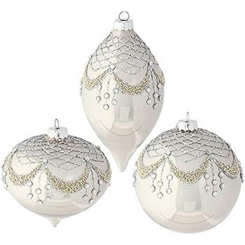 Raz Imports 4 Beaded Rhinestone Gem Christmas Tree Ornaments Set Of 3 Home