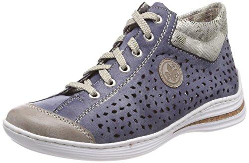 Rieker Collo Jeans Sneaker a M3548 Alto Donna Steel Grau Grigio OOPx4wH