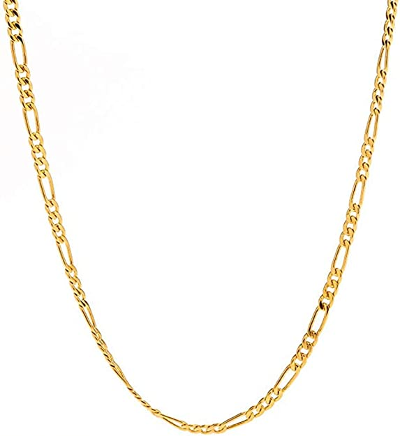 Fztn Jewelry 3mm Gold Flat Figaro Chain Necklace For Boys 18k Gold Plated Diamond Cut Stainless Steel Fashion Jewelry Rapper Necklace 18inch Amazon Com