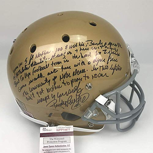 (Autographed/Signed Rudy Ruettiger Full Speech Notre Dame Irish Full Size FS F/S Replica College Football Helmet JSA COA)