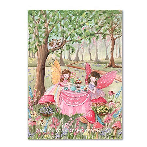 Fairy Tea Party, Personalized, Thick Wrapped Canvas, Choose Hair Color And Girls Name, 8x10 to 24x36