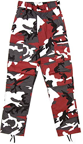 Army Universe Mens Red Camo Tactical Camouflage Military BDU Cargo Pants with Pin - XL (42