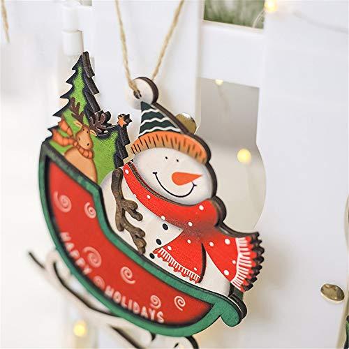 Hot Sale!DEESEE(TM)Santa Christmas Tree Cute Wood Sleigh Pendant Gift Home Hanging Decorations (Red) ()