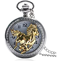 SODIAL Chinese Style Golden Horse Pentium Pattern Cool Men's Pendant Gift Ladies Pocket Watch Necklace