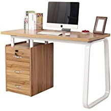"Dland Home Office Computer Desk with Built-in File Cabinet 3 Drawers WK164, Composite Wood Board with Metal Frame, Teak, 47"" Medium Size, 1 Pack"