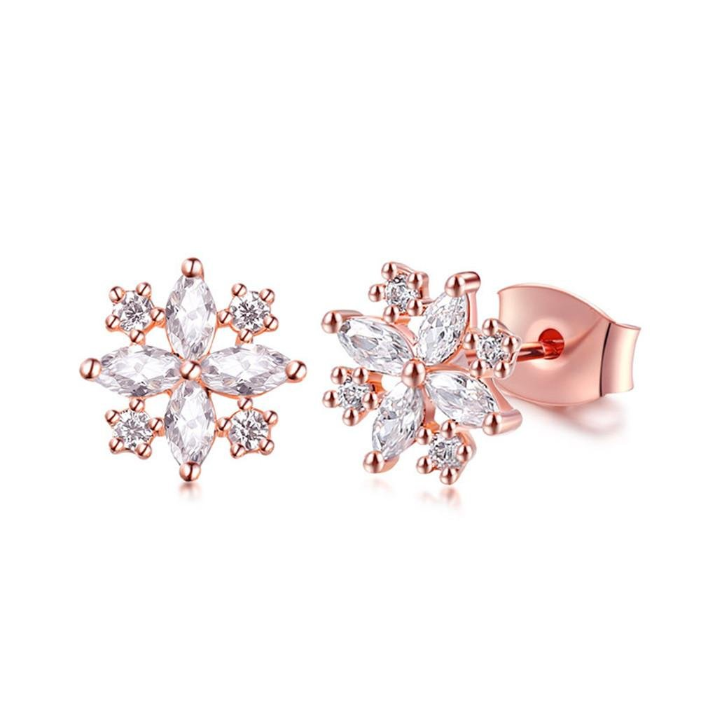 XG S925 sterling silver fashion plating rose gold zircon snowflakes anti - allergic earrings wexe.com