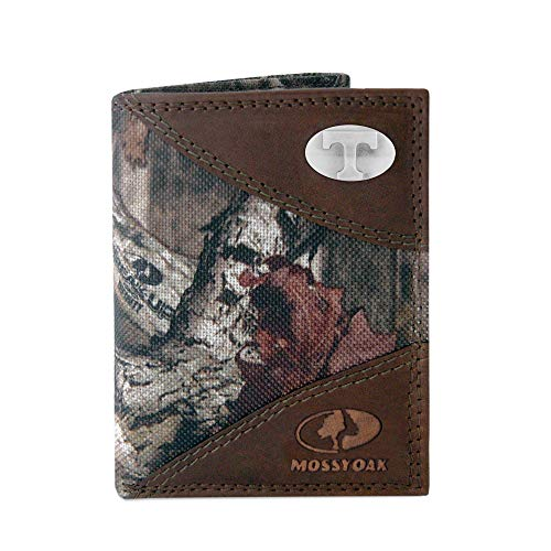 NCAA Tennessee Volunteers Zep-Pro Mossy Oak Nylon and Leather Trifold Concho Wallet, Camouflage, One Size (Tennessee Volunteers Brown Leather)