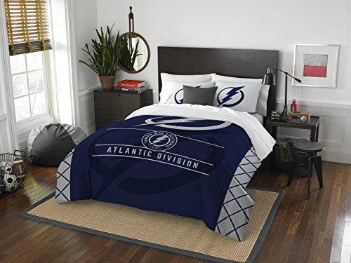 The Northwest Company Officially Licensed NHL Tampa Bay Lightning Draft Full/Queen Comforter and 2 Sham Set, Blue/White