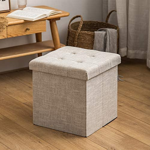 HuiDao Storage Ottoman Bench 15x15x15 Inch Super Thick Folding Storage Ottoman Cube Toy Chest Foot Rest Stool Storage Chair for Living Room Bedroom Office Linen – Beige