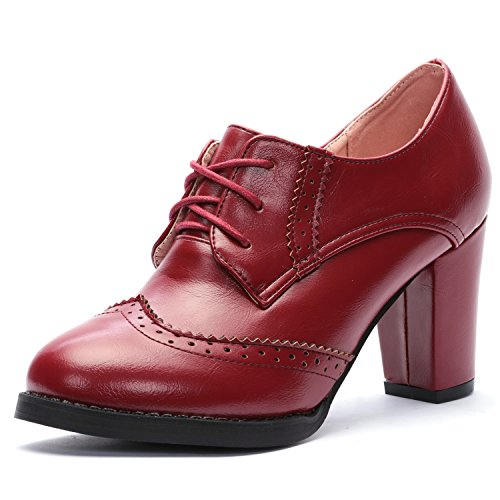 ODEMA Women's Pointed-Toe Brogue Oxfords High Heel Lace-up Ankle Boots Red