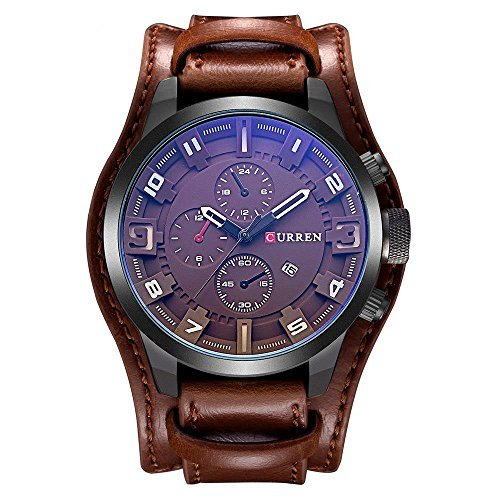 CURREN Original Mens Sports Waterproof Leather Strap Date Wrist Watch Good Quality 8225 All Brown