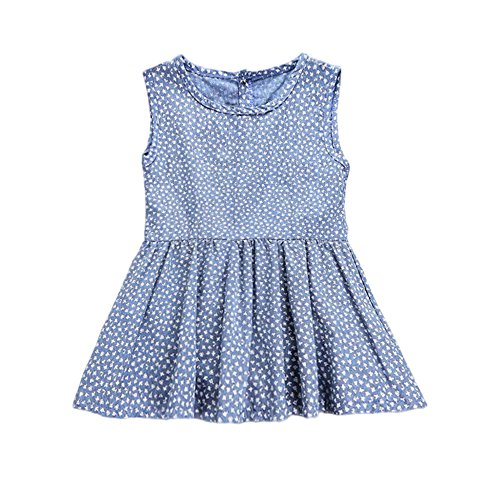 YOHA Baby Girls Ruffle Jumper Dress Suspender Skirts Pinafore Toddler Dress Blue,120 from YOHA