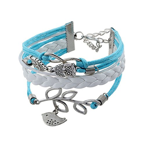 Bracelet Charm Bracelet Wrap Bracelet Leather Bracelet Multilayer Alloy Owl Leaves and Infinity Charms Handmade Jewelry 1pc