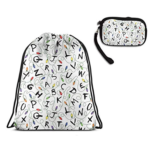 Men & Women Sports Swim Drawstring Sack, Outdoor Activity, Beach Stranger Things Daypack, Water Resistant, Home Travel Storage Use + Theft Proof Clutch Wallet ()