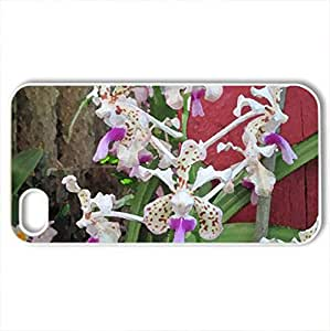 Attractive Flowers at the garden 90 - Case Cover for iPhone 4 and 4s (Flowers Series, Watercolor style, White)