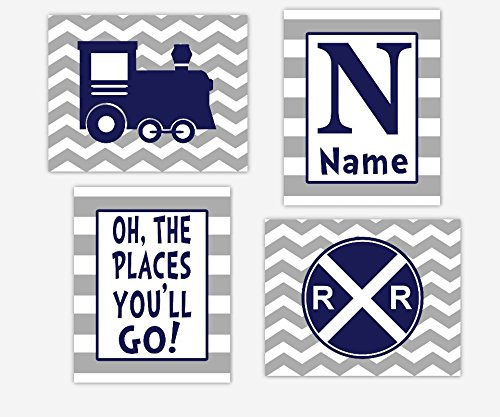 CANVAS Baby Boy Nursery Wall Art Navy Blue Railroad Locomotive The Places You'll Go Personalize Name Inspirational Canvas Wall Art Baby Nursery Décor SET OF 4 - Stores Place Lighthouse