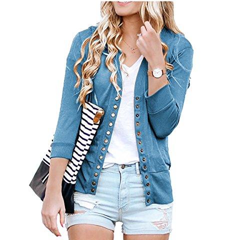 SHOPGLAMLA Women's Snap Button Ribbed Detail Neckline Sweater Knit Cardigan 3/4 Sleeves - Ocean Blue - (Ribbed Detail Cardigan)