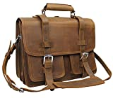 Vagabond Traveler 17'' CEO Heavy Duty Classic Leather Briefcase Backpack (Heavy 10LB) L01 Vintage Brown With Single Strap