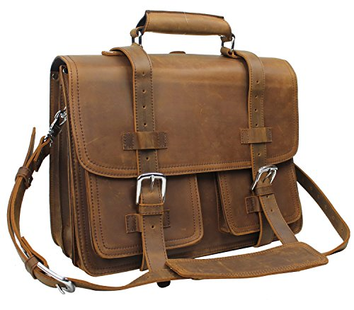 Vagabond Traveler 17'' CEO Heavy Duty Classic Leather Briefcase Backpack (Heavy 10LB) L01 Vintage Brown With Single Strap by Vagabond Traveler