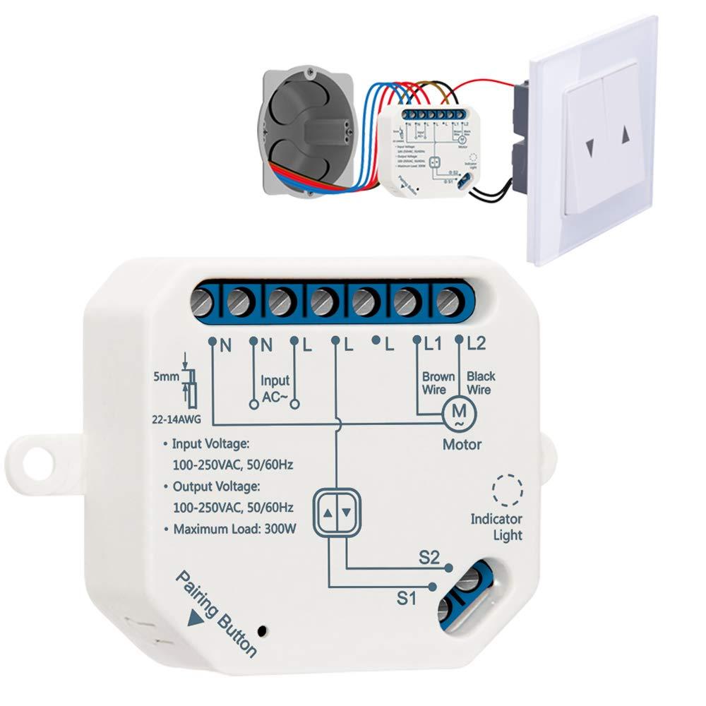 LoraTap Interruptor Persianas WiFi, Relé de Persianas Temporizador Inteligente para Cortina Eléctrica, Control Remoto por Teléfono, Compatible con Alexa y Google Home para Control de Voz, 300W