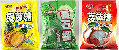 (Hong Yuan Pineapple Guava Lychee Candy 3 Pack Bundle 12.3 oz Dakeyi)
