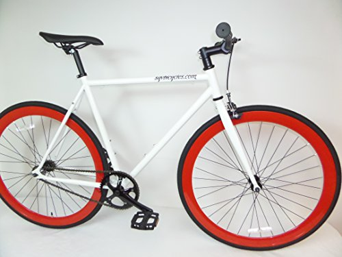 White and Red Fixie Single Speed Urban Fixie with Flip Flop Hub By Sgvbicycles Fixies (52cm)