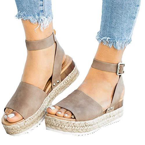 Xiakolaka Womenss Platform Sandals Open Toe Espadrille Ankle Strap Buckle Shoes Leopard 41 Khaki