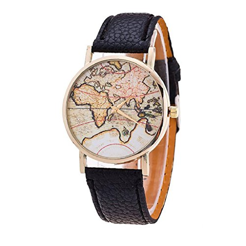 Women's Casual Watch,Hosamtel Fashion World Map Leather Strap Analog Quartz Wristwatch - Map Square Shops Times