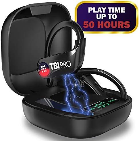 PowerPro Sport 5.0 Bluetooth Headphones – 50 Hours, HD Stereo Earphones – Powerbeats Pro Style TWS Totally Wireless Earbuds IPX7 Waterproof in-Ear Headset with Mic for Running, Gifts for Men, Women