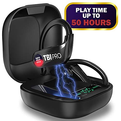 PowerPro Sport Bluetooth Headphones 5.0-50 Hours, HD Stereo Earphones – Powerbeats Pro TWS Totally Wireless Earbuds IPX7 Waterproof in-Ear Headset with Mic for Running, Gifts for Men, Women