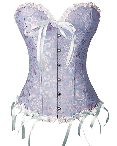 Classy-Corsets Corset Satin Boned Bustiers Overbust Corset with G-string