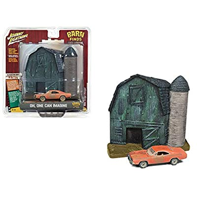 Johnny Lightning 1:64 DIORAMAS 2020 Release 4 - BARN Finds: Lost Legends - Old BARN and SILO POLYRESIN Relief with A 1969 Dodge Charger Orange JLSP056: Toys & Games