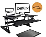 Premium Standing Desk, Stand Up, Anti-Fatigue Mat Included, 36'' Surface, Spacious Keyboard Tray, Smartphone/Tablet Holder, Easy Adjust Workstation,Smooth Motion, Quick Assembly, Sturdy Design