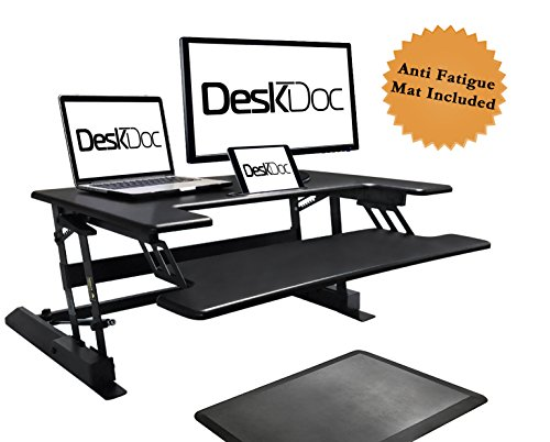 Premium Standing Desk, Stand Up, Anti-Fatigue Mat Included, 36'' Surface, Spacious Keyboard Tray, Smartphone/Tablet Holder, Easy Adjust Workstation,Smooth Motion, Quick Assembly, Sturdy Design by DeskDoc