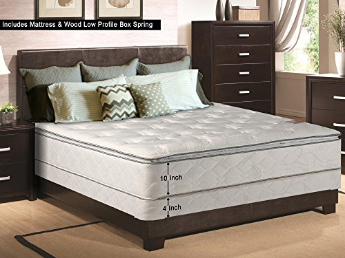 Continental Sleep, 10-inch Medium Plush Euro Top Innerspring Mattress and 4-inch Box Spring/Foundation Set, No Assembly Required, Queen Size