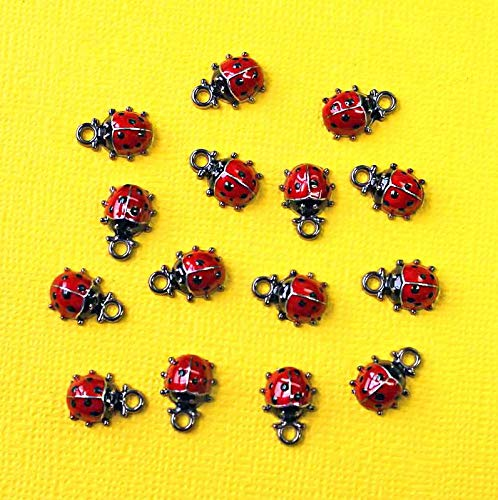 (2 Lady Bug Charms Enamel Plated Red with Black Fun and Elegant Vintage Crafting Pendant Jewelry Making Supplies - DIY for Necklace Bracelet Accessories by CharmingSS)