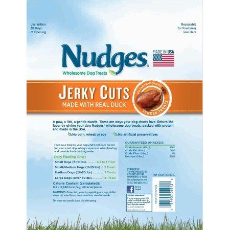 4 Pack of Nudges Duck Jerky Dog Treats, 18 oz