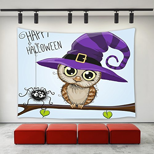 LBKT Tapestries Wall Hanging for Halloween Party, Happy Halloween Cartoon Night Owl with Purple Hat Spider Print Tapestry for Children Kids Room Wall Art for Home Decor Decoration 60