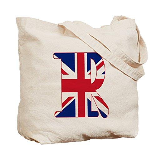 CafePress–Union Jack Monogramm Buchstabe R–Leinwand Natur Tasche, Reinigungstuch Einkaufstasche Tote S khaki