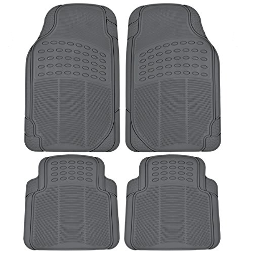 (BDK MT-654-GR Heavy Duty 4pc Front and Rear Rubber Floor Mats for Car SUV Van and Truck All Weather Protection Universal Fit, Gray)