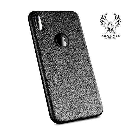 The Best seller iPhone X leather case, Anti-Slip Lychee Grain Leather Pattern Flexible TPU Silicone Slim Protective Back Cover Case For iPhone X,10, Ultra thin leather Case, New, Protector (Black)