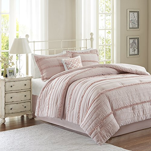 Madison Park Celeste 5 Piece Quilted Bedding Comforter Set for Bedroom, California King, Pink