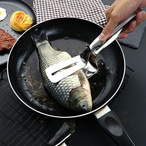 YXTHON Stainless Steel Multipurpose Barbecue Tongs Fried Steak Clamp Fried Fish Shovel Bread Clip Kitchen Tool Barbecue Tongs Gripper Bread Clip Grilling Tong Spatula, Fried Fish Shovel